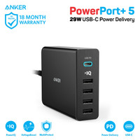 Wall Charger Anker PowerPort+ 5 USB-C Black - A2053
