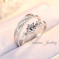 cincin pria wanita rantai sepasang cincin tunangan emas putih