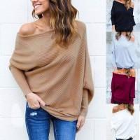 Sweater Sexy Model Off Shoulder Sabrina Tanpa Tali