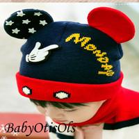 Topi Kupluk Anak Bayi Bahan Rajut Motif Mickey Mouse Topi dan Syal