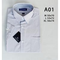 Kemeja pria murah motif pendek ukuran reguler bahan katun putih abu - M