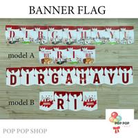 Banner flag DIRGAHAYU RI/ HUT RI/ bunting flag 17 AGUSTUS merah putih