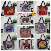 TOTE BAG KANVAS IMPORT GAJAH / TAS KANCING OVAL 2IN1 IMPORT THAILAND