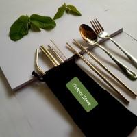 Sedotan stainless & Cutlery Set Travel#silver