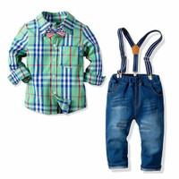 Setelan baju kemeja hijau celana jeans overall suspender pesta anak