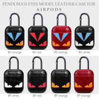 BUGS EYES Model Leather Case Pouch for AIRPODS with Anti Lost Hook