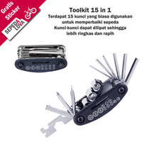 Toolkit Toolset Sepeda 15 in 1 Kunci L Obeng Wrench