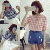 Korean Fashion Style Women Short Sleeve Loose Lattice Sweet Blouse