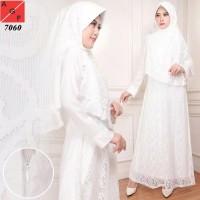 Baju Gamis Putih / Gamis Brukat / Busana Muslim / Baju Muslim
