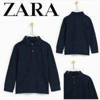 Baju kaos kerah anak laki branded original Zara navy / hem boy dongker