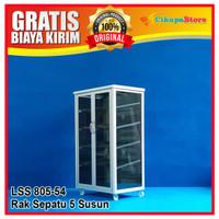 PROMO !! Lemari / Rak Sepatu Aluminium 5 Susun Kaca Riben LSS 805-KC