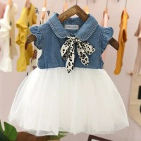 Dress Bayi-Anak Motif Denim Korean Style - M