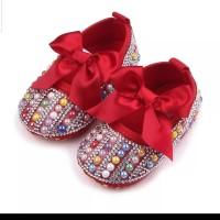 Sepatu Bayi Perempuan Prewalker Kristal Mutiara Red