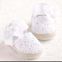 Sepatu Bayi Prewalker Perempuan Pita Putih
