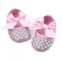 Sepatu Bayi Perempuan Prewalker Kristal Mutiara Pink