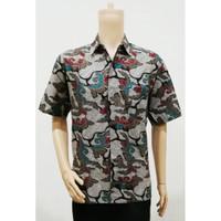 Kemeja Hem Atasan Baju Seragam Pria Batik Murah 2627 Abu BIG SIZE