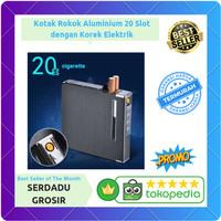 Kotak Aluminium Isi 20 Slot dengan Korek Api Elektrik USB Bisa Dicas
