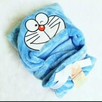Selimut Topi Bayi Karakter Doraemon Double Fleece Bulu Lembut Halus