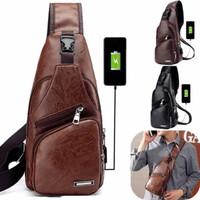 HARGA MURAH Tas Selempang NEW KULIT Pria Sling Bag Kulit USB Port - coklat tua