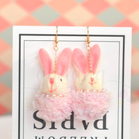 Anting Kelinci Pompom 3D Rabbit Lucu Unik Panjang GH 203616