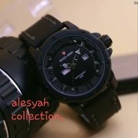 jam tangan pria/cowok swis army kulit black