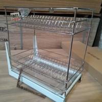 tempat piring minimalis 2 susun rak mangkok stenlis drawer basket