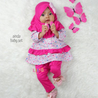 Baju Gamis Anak Perempuan / Baju Muslim Bayi Ainda 5-8 Bulan