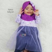 Baju Gamis Anak / Baju Muslim Anak Bayi Perempuan Bianca Set 5-8 Bulan