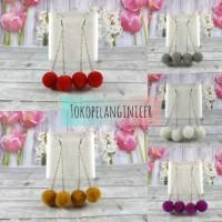 Anting Fashion pompom cherry anting hijab