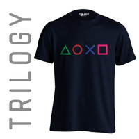 Kaos Premium Brand TRILOGY Game Playstation Buttons version 2 Tshirt - Navy, M