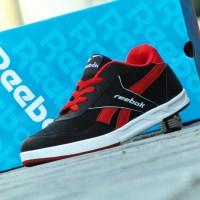 Sepatu Sneakers Reebok Casual Classic Hitam Merah Kets Santai Pria