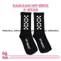kaos kaki off white x hitam. kaos kaki motif premium - offwhite