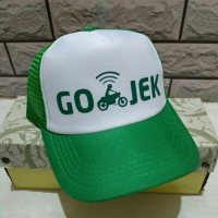 Topi Gojek - Hijau Putih (jaring) - Polyflex murah