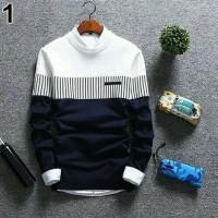 Sweater Rajut Pria Korea Zico Navy