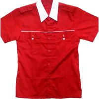 Baju Seragam Drill / kemeja drill / Seragam karyawan . Merah-Putih