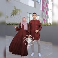 Couple leslie baju muslim pasangan simpel gamis kemeja terbaru les vt