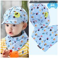 Topi Bayi baseball dan Napkin - 2pcs - HT20 biru