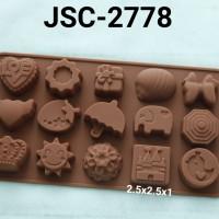 JSC-2778 Cetakan silikon puding coklat fondant payung kerang pita kado