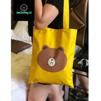 Tote Bag Kanvas LINE - Yellow (SPECIAL CHARACTER EDITION)