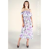 Dress Tanpa Lengan/ Dress Aster Purple Offwhite (71061T5UO) - Bodytalk