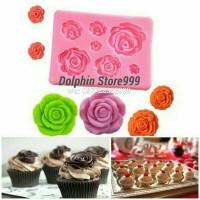 Cetakan Silikon Fondant Coklat Rose/Silicone Mold/Dekorasi Kue Cake