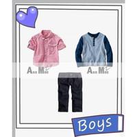 Setelan Anak Laki Ann Mee 3in1 Kemeja Kotak Merah Kaos Jeans Teen - 8-9 tahun