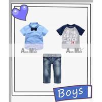 Setelan Anak Laki Ann Mee 3in1 Kemeja Biru Kaos Abu Celana Jeans Teen - 13-14 tahun