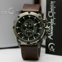 Jam Tangan Pria Alexandre Christie AC 6416 Black Brown Original