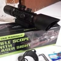 HOT SALE Tele Teropong Rifle Scope M9 3-10x42 E Red Laser Merah Super
