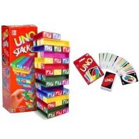 mainan kartu uno stacko set paket card game block balok blok jenga