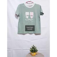 T-shirt Green Cat / Kaos Korea / Kaos Lucu
