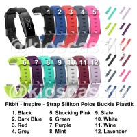 Fitbit Inspire HR - Tali Jam Strap Silikon Polos Buckle Silicone Band - S Dark Blue