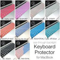 MacBook Skin Keyboard Protector See-Through Backlight Tembus Cahaya
