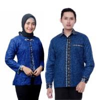 Couple Batik Atasan - Blus dan Kemeja Mega Mendung Biru - Batik IFA
